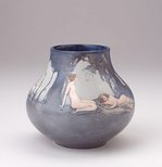 Alternate image of Vase with pastoral design of nude figures with swans by Mildred Lovett