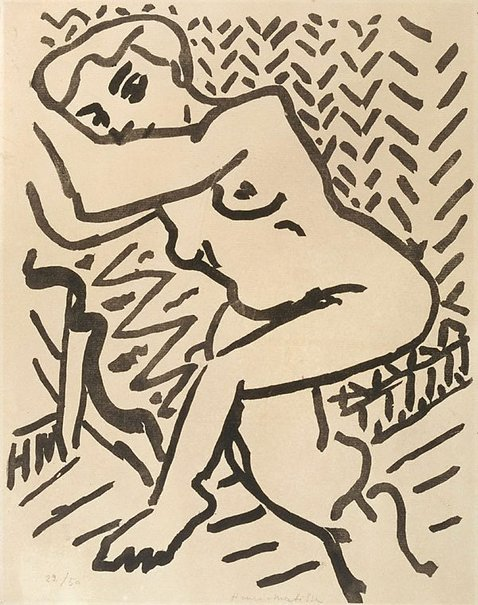 An image of Three-quarter length nude, with arms raised by Henri Matisse