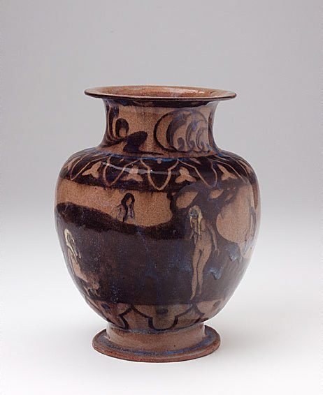 An image of Vase with pastoral design of figures bathing