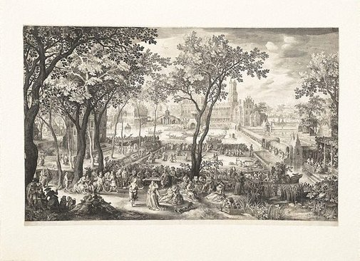 An image of Rustic fair in front of a castle by Nicolaes de Bruyn, after David Vinckeboons