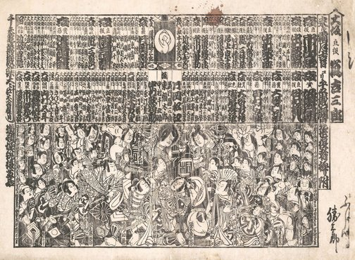 "An image of Kabuki broadsheet for a ""Kaomise"" session by Unknown"