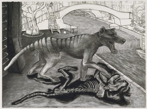 An image of Tasmanian tiger in Paris, Canal St. Martin by Daniel Moynihan