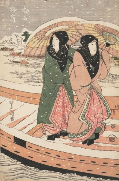 An image of Onnagata Baiga (Iwai Hanshirō V) and Rokō (Segawa Kikunojō IV) on a boat in snow by Utagawa TOYOKUNI