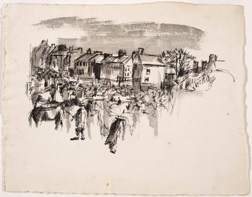 An image of (Village scene with horses) by Brett Whiteley