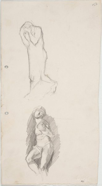 An image of recto: Rodin's 'Burgher of Calais' and Michelangelo's 'Struggling Captive' verso: Foliage studies by Lloyd Rees