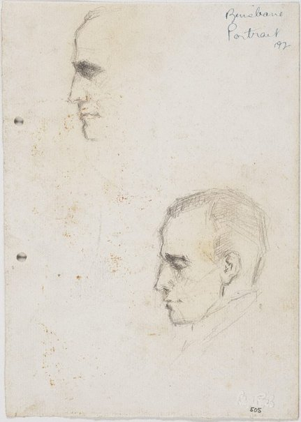 An image of recto: Vyv sketched last night home at Clayfield verso: Vyv's nose by Lloyd Rees
