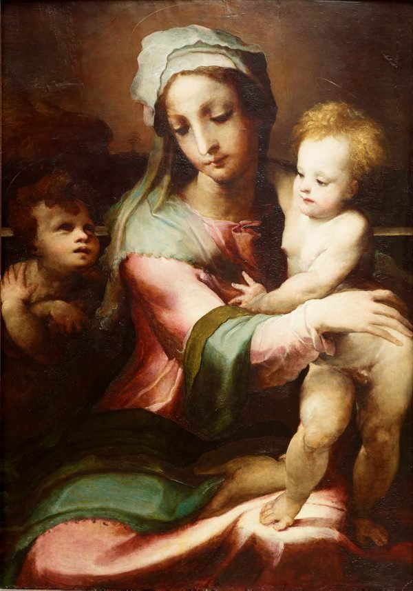 An image of Madonna and child with infant John the Baptist