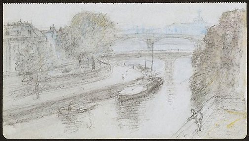 An image of Pont des Arts from our window, Paris by Lloyd Rees