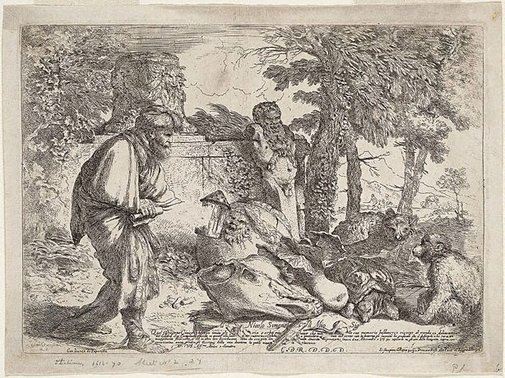 An image of Diogenes seeking an honest man by Giovanni Benedetto Castiglione