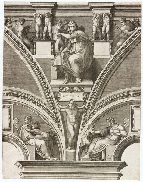 An image of The Delphic Sybil by Giorgio Ghisi, after Michelangelo Buonarotti