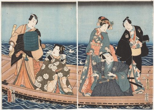 An image of Boating excursion on the Sumidagawa by Utagawa KUNISADA /TOYOKUNI III