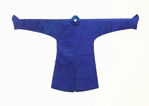 An image of Boy's black satin surcoat with a blue 'nei tao' under robe by