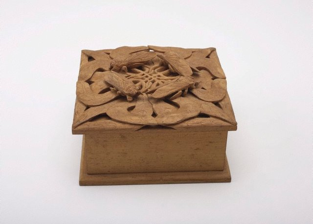 An image of Hankerchief box with cicada and gum leaf design