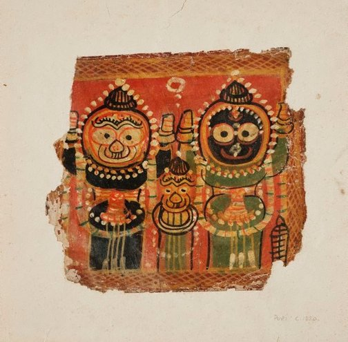 An image of Jagannatha, Balabhadra and Subhadra by