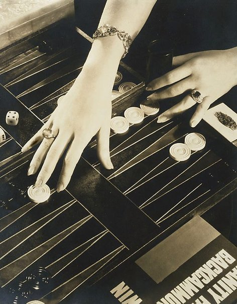 An image of The Play of Modern Hands (hands of Ilka Chase, Backgammon) by Edward Steichen
