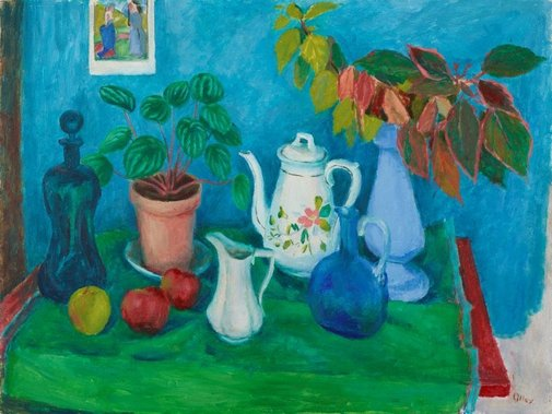 An image of Still life with leaves by Margaret Olley