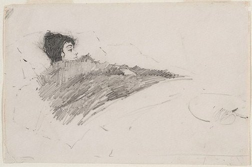 An image of Ada Beattie in bed with influenza by George W Lambert
