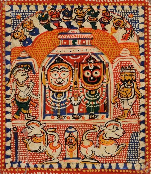 An image of The Jagannatha trinity enshrined in a temple by