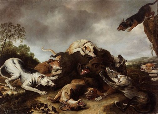 An image of The boar hunt by Frans Snyders