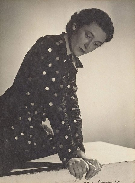 An image of Untitled (Vesta Davies in spotted dress, looking down) by Max Dupain