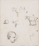 Alternate image of recto: Horses and figures verso: Horses and figures and Ted Rees's head by Lloyd Rees