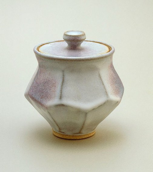 An image of Jar with cut sides, white chun glaze and copper red splashes by SHIGA Shigeo