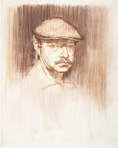 An image of Self portrait with felt cap by Charles Bush
