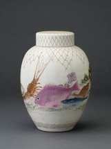An image of Jar with design of sea creatures and net in relief by MATSUMOTO Hôen, Meiji export crafts