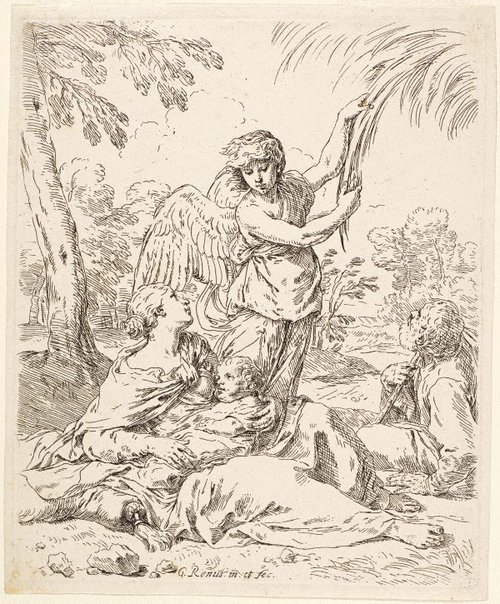 An image of The rest on the flight into Egypt by Simone Cantarini