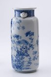 Alternate image of Blue and white vase with design of pomegranate and chrysanthemum by Meiji export crafts