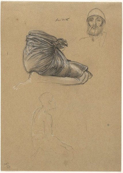 An image of Study of a kneeling figure, and of clothing; study of a bearded head by Sir Edward John Poynter