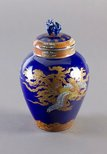 Alternate image of Tea jar with design of dragon and pheonix in clouds by Fukagawa Porcelain Manufacturing Co., Ltd