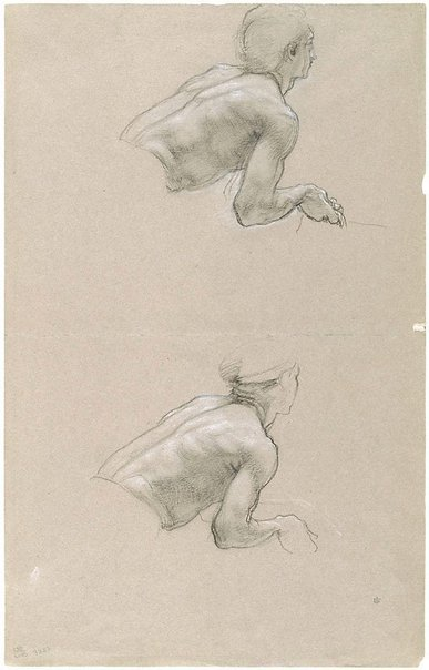 An image of Studies of the upper body of a man, leaning forward by Sir Edward John Poynter
