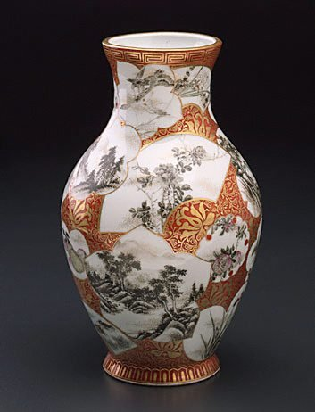 An image of Vase with various designs in panels of different shapes by KANZAN Denshichi