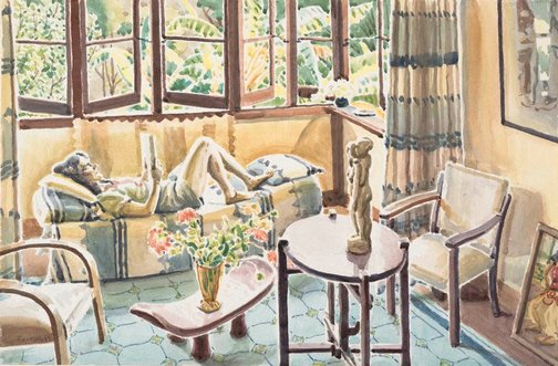 An image of (Interior, Mona Vale: Rene reading) by Weaver Hawkins