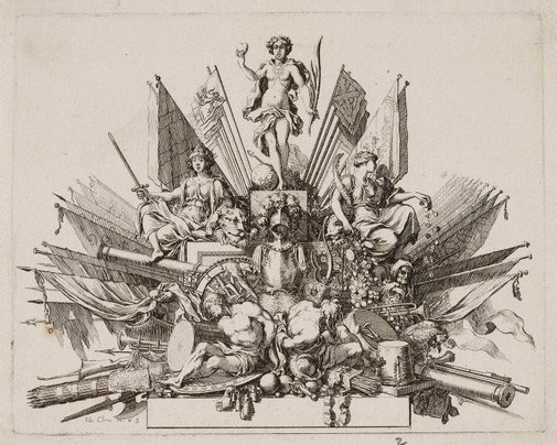 An image of Tailpiece for the funeral oration of Turenne by Sebastien Leclerc
