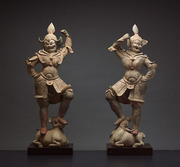 An image of A pair of tomb guardian figures
