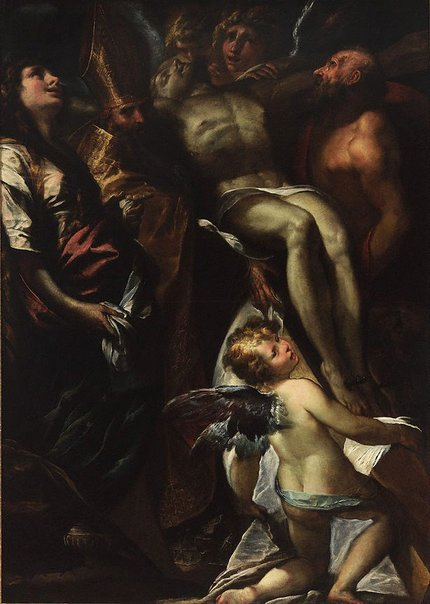 An image of The Lowering of the Cross with Sts Mary Magdalene, Augustine, Jerome and Angels by Giulio Cesare Procaccini