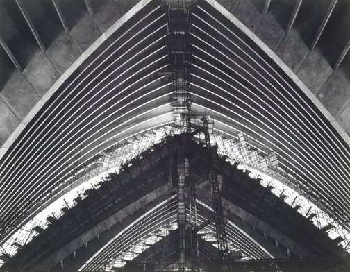 An image of Concert Hall in construction (Sydney Opera House) by Max Dupain