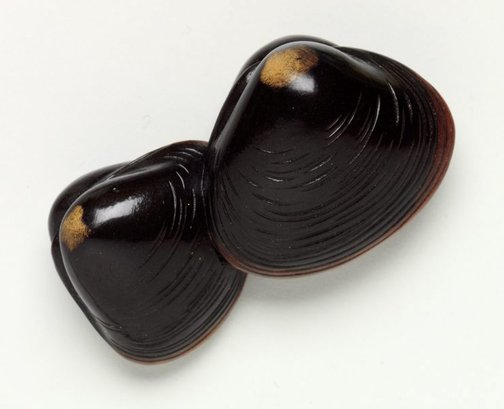 An image of Netsuke in the form of two clam shells by