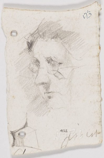 An image of recto: Sketch of Auntie Pardoe verso: Imaginary building for a proposed Square by Lloyd Rees