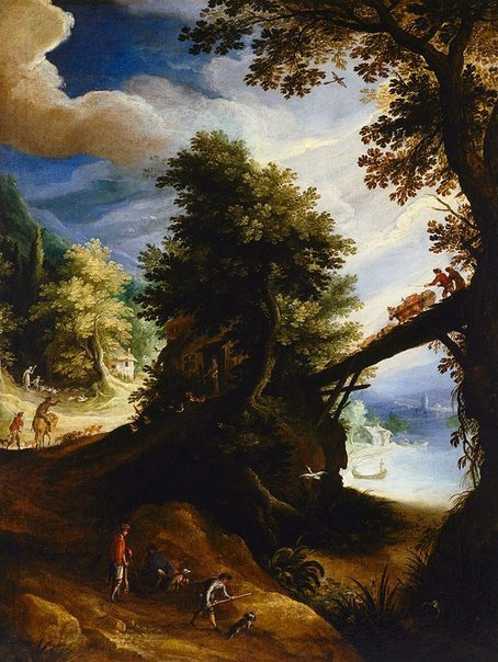 An image of A wooded landscape with a bridge and sportsmen at the edge of the river by Paul Bril