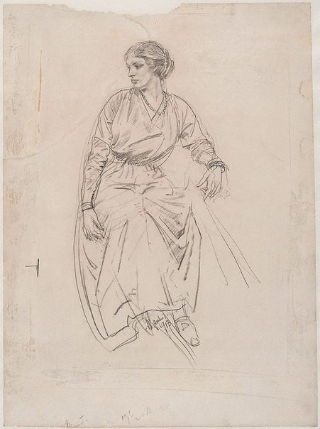 An image of Seated woman by George W Lambert