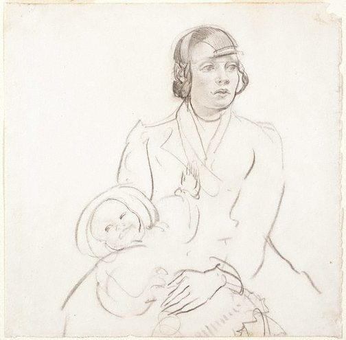 An image of Coster girl and child by George W Lambert