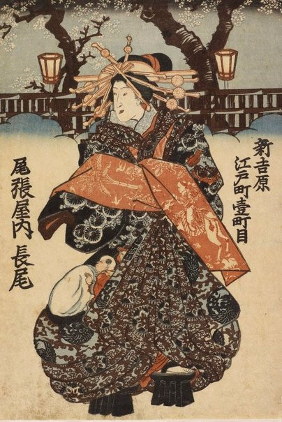 An image of Courtesan Nagao of Owariya (in Edomachi 10-chome, Shin-Yoshiwara) by Utagawa school