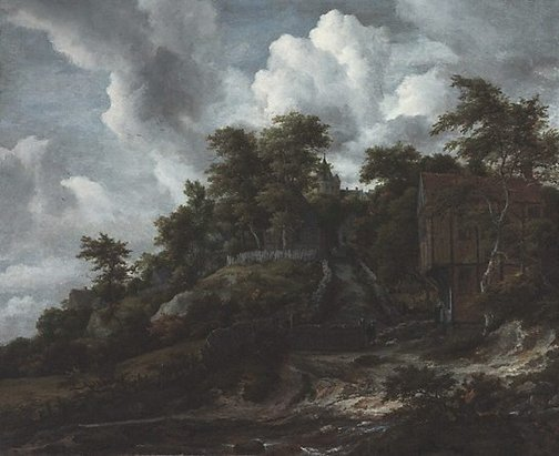 An image of Wooded hillside with a view of Bentheim Castle by Jacob van Ruisdael