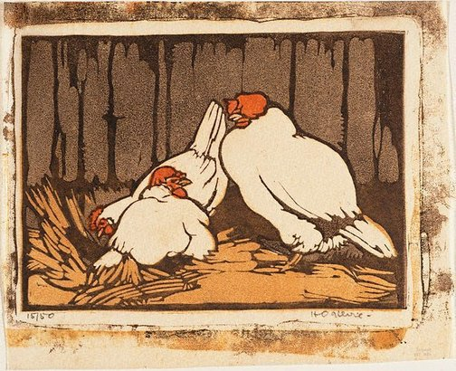 An image of Chooks in the straw by Helen Ogilvie