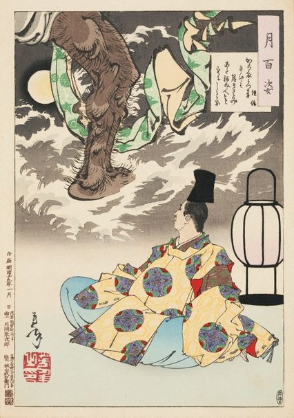 An image of I listen to the sound of the cloth being pounded/ as the moon shines serenely/ and believe that there is someone else/ who has not yet gone to sleep - Tsunenobu by Tsukioka YOSHITOSHI