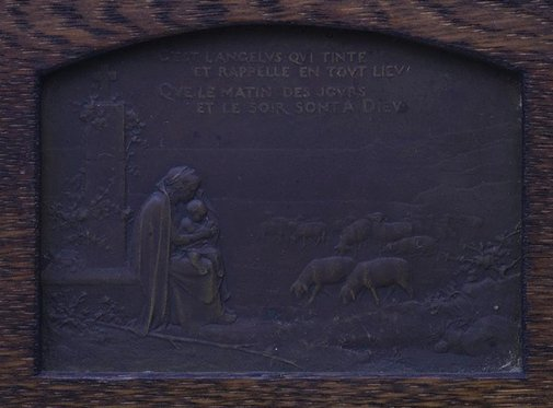 An image of recto: It is the Angelus sounding (C'est l'Angelus qui tinte), verso: A ploughing farmer, accompanied by his dog, stops to pray by Georges Dupre