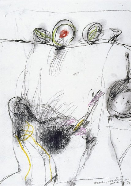 An image of Woman avoiding washing up by John Olsen